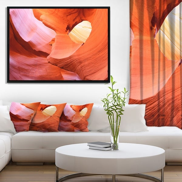 Designart 'Antelope Canyon Inside' Landscape Photo Framed Canvas Art Print