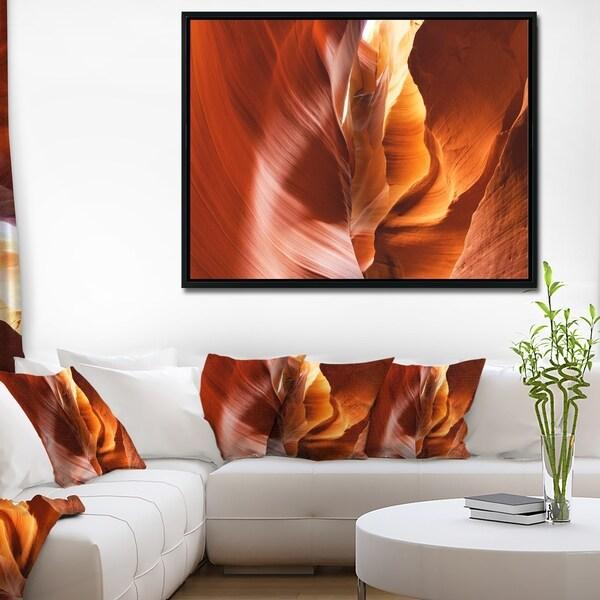 Designart 'Sunshine in Antelope Canyon' Landscape Photo Framed Canvas Art Print