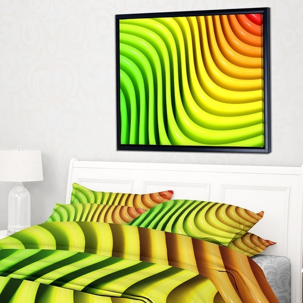 Designart 'Rainbow Colors Wave' Abstract 3D Digital Art Framed Canvas Print
