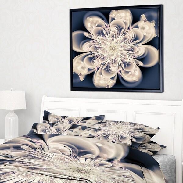 Designart 'White Fractal Flower' Modern Floral Framed Canvas Art Print