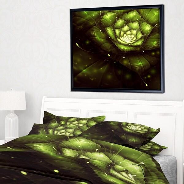 Designart 'Green Flower with Sun Rays' Floral Art Framed Canvas Print