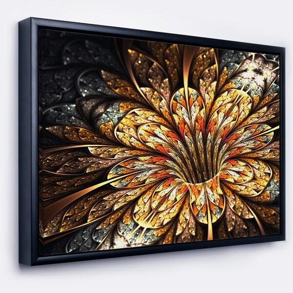Designart 'Golden Shiny Fractal Flower' Floral Art Framed Canvas Print