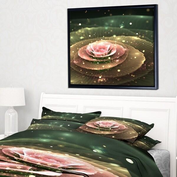 Designart 'Pink Flower with Water Droplets' Floral Art Framed Canvas Print