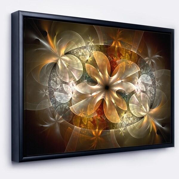 Designart 'Fractal Flower with Blue Details' Floral Art Framed Canvas Print