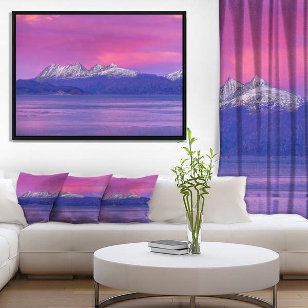 Designart 'Ushuaia Sunrise Argentina' Beach and Shore Framed Canvas Art Print