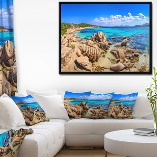 Designart 'Coastline Panorama' Beach Photography Framed Canvas Art Print