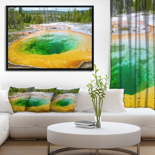Designart 'Bright Morning Glory Pool' Landscape Photo Framed Canvas Art Print