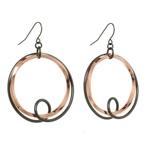 2 Tone Ring & Loop Drop Earring