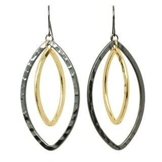 2 Tone Navette Earrings