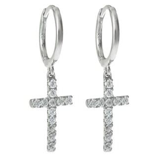 Queenberry Sterling Silver Cubic Zirconia Christian Cross Dangle Hoop Clasp Earrings