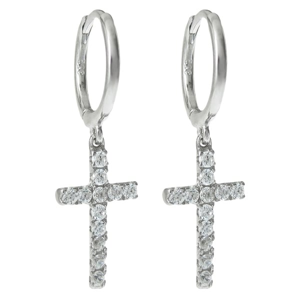 Queenberry Sterling Silver Cz Cross Dangle Hoop Hug Earrings