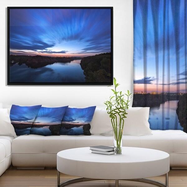 Designart 'Blue Night Sky with River' Landscape Photo Framed Canvas Art Print