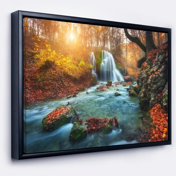 Designart 'Fast Flowing Fall River in Forest' Landscape Photography Framed Canvas Print