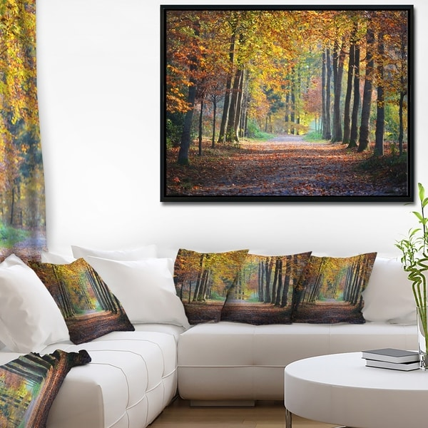 Designart 'Wide Pathway in Yellow Fall Forest' Landscape Photography Framed Canvas Print