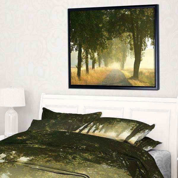 Designart 'Rural Road Under Big Green Trees' Landscape Photography Framed Canvas Print