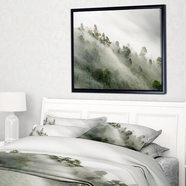 Designart 'Mystical Foggy Mountain Slope' Landscape Photography Framed Canvas Print