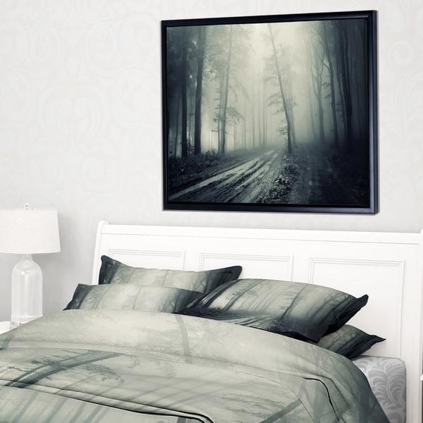 Designart 'Spooky Dark Forest with Fog' Landscape Photography Framed Canvas Print