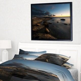 Designart 'Dark Sydney Coastline' Seascape Framed Canvas Art Print