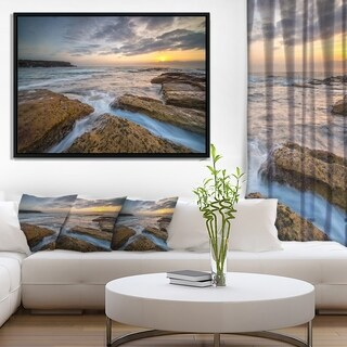 Designart 'Bright Sydney Coastline View' Seascape Framed Canvas Art Print
