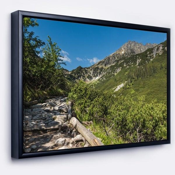 Designart 'Tourist Trail in High Mountains' Landscape Framed Canvas Art Print
