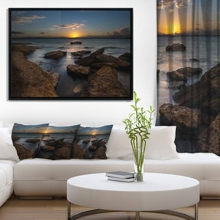 Designart 'Rocky Sydney Beach at Sunset' Seascape Framed Canvas Art Print