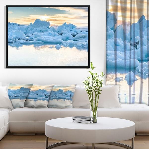 Designart 'Icebergs in Glacier Lagoon' Seascape Framed Canvas Art Print