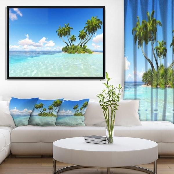 Designart 'Corals Island under Blue Sky' Seascape Framed Canvas Art Print