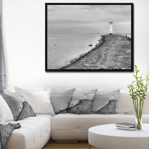 Designart 'Lighthouse Windmill Stawa Mlyny in Grey' Seascape Framed Canvas Art Print
