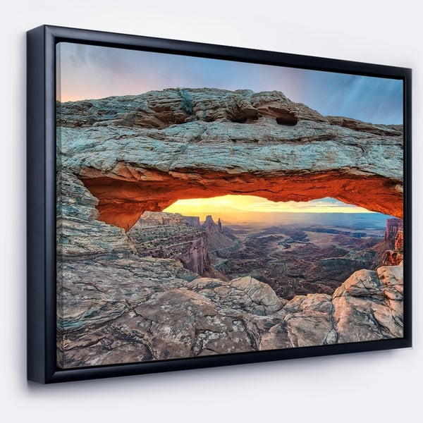 Designart 'Sunrise at Mesa Arch in Canyon lands' Landscape Framed Canvas Art Print