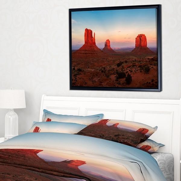 Designart 'Sunset in Monument Valley' Landscape Framed Canvas Art Print