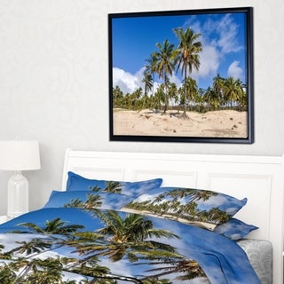 Designart 'Anakena Beach in Easter Island' Seascape Framed Canvas Art Print