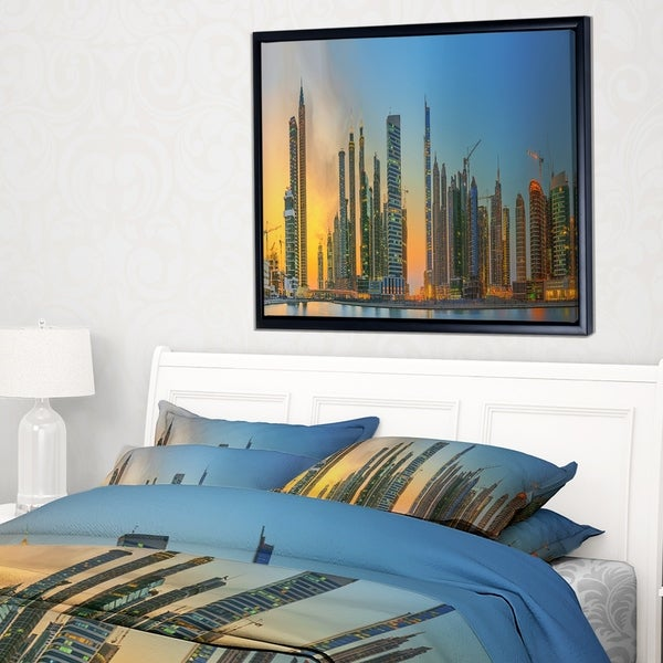 Designart 'Business Bay and Downtown Dubai' Cityscape Framed Canvas Print