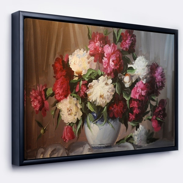Designart 'Bouquet of Blooming Peonies' Large Floral Wall Art Framed Canvas