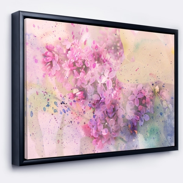 Designart 'Twig of Lilac Flowers' Large Floral Wall Art Framed Canvas