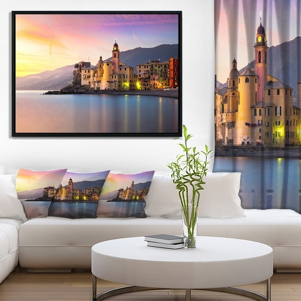 Designart 'Old Mediterranean Town at Sunrise' Large Seashore Framed Canvas Print