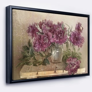Designart 'Bouquet of Pink Peonies' Floral Art Framed Canvas Print