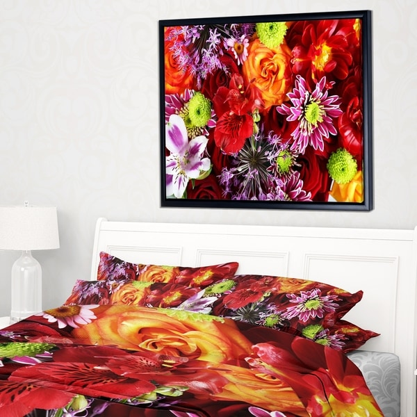 Designart 'Colorful Flowers Background' Large Floral Wall Art Framed Canvas