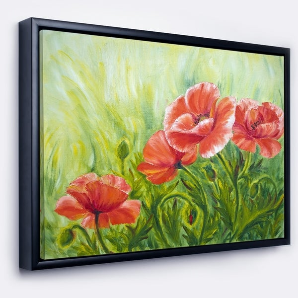 Designart 'Blooming Poppies with Green Leaves' Large Floral Wall Art Framed Canvas