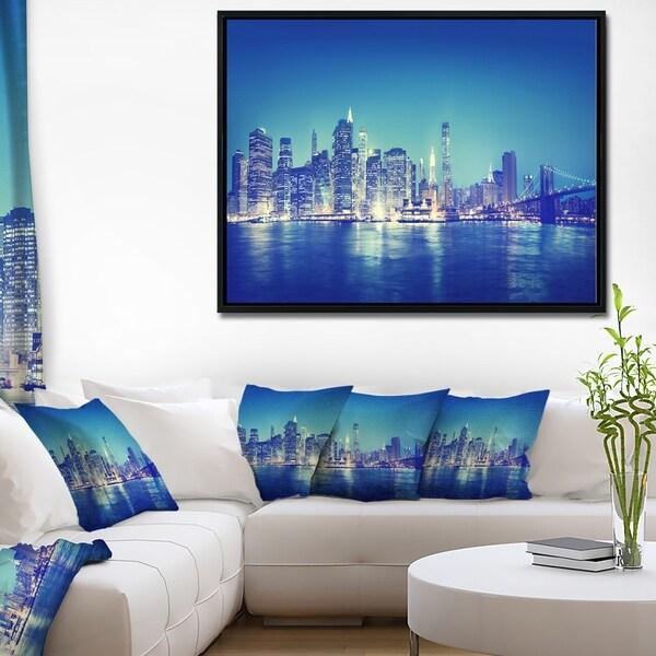 Designart 'Blue New York City at Night Panorama' Cityscape Framed Canvas Print