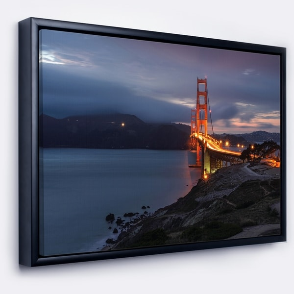 Designart 'Golden Gate with Night Illumination' Sea Bridge Framed Canvas Art Print