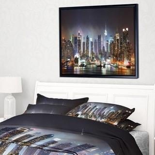 Designart 'New York Times Square in Blue Light' Cityscape Framed Canvas Print