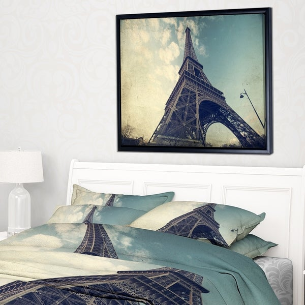 Designart 'Paris Paris Eiffel TowerVintage View from Ground' Cityscape Framed Canvas Print