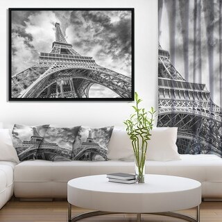 Designart 'Black and White View of Paris Paris Eiffel Tower' Cityscape Framed Canvas Print