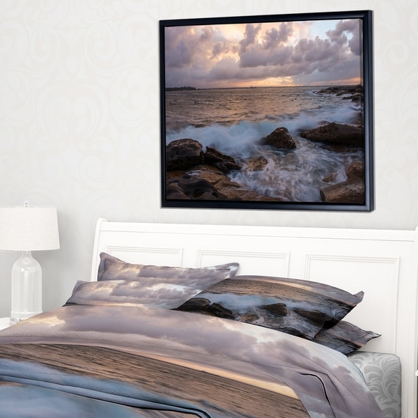 Designart 'Cloudy Sky and Stormy Waves in Sydney' Large Seashore Framed Canvas Print