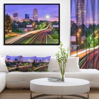 Designart 'Winston Salem North Carolina' Cityscape Framed Canvas Print