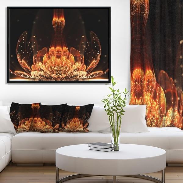 Designart 'Bright Orange Glossy Fractal Flower' Large Floral Wall Art Framed Canvas