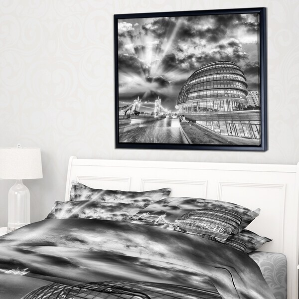 Designart 'London Night Cityscape around Southwark' Cityscape Framed Canvas Print