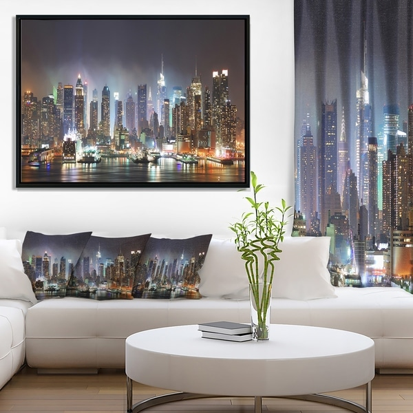 Designart 'New York City Skyscrapers in Blue Shade' Cityscape Framed Canvas Print