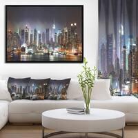 Designart 'New York City Skyscrapers in Blue Shade' Cityscape Framed Canvas Print