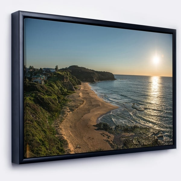 Designart 'Clam Sea Waters at Sydney beach' Large Seashore Framed Canvas Print